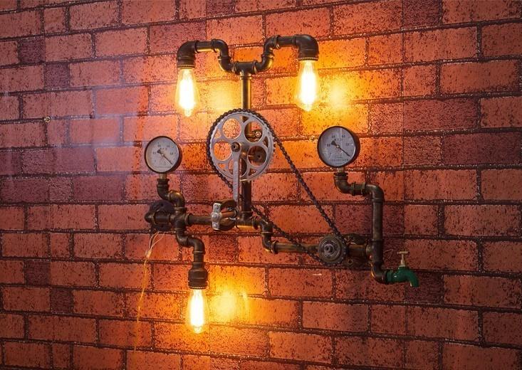 Необычный светильник из труб в индустриальном стиле