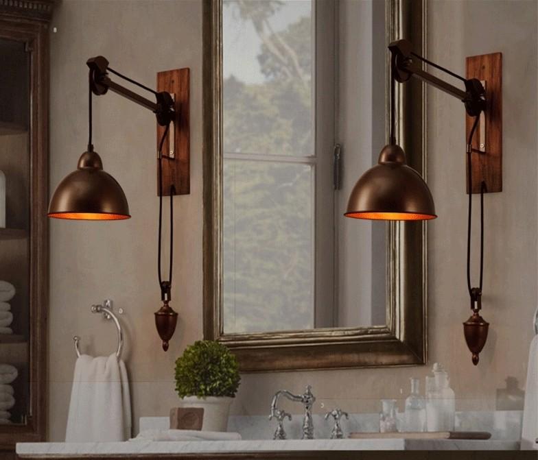 Бронзовые светильники в стиле лофт для ванной