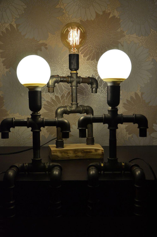 Настольные светильники из водопроводных труб