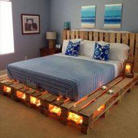 Кровать из паллет с подсветкой КРО15